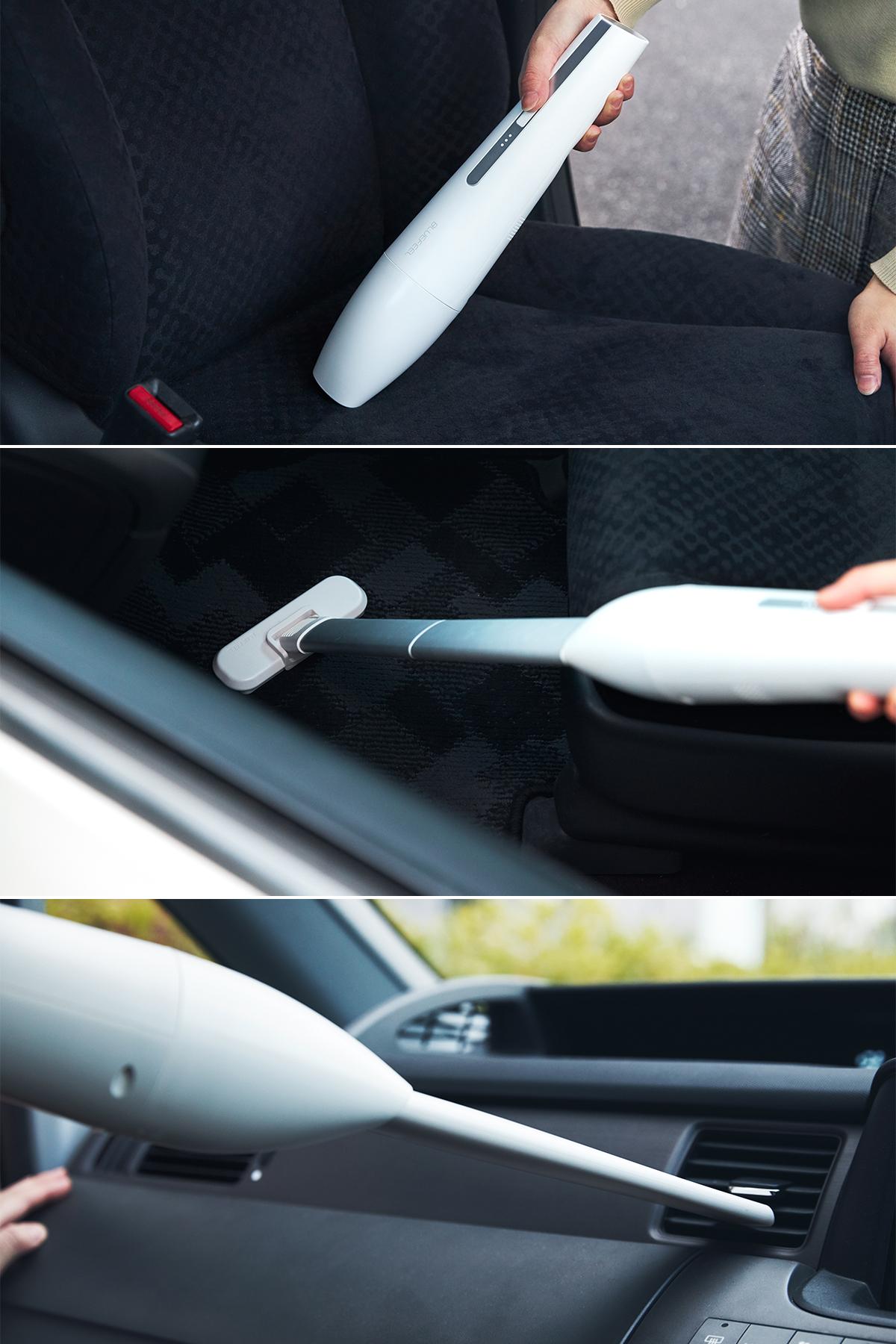 車の座席、足元、備え付けポケット、エアコン排気口など車の掃除にも大活躍。リビングに馴染むデザイン、ゴミに気づいたら即ハイパワーで吸引できる「ハンディクリーナー」|MONTANC(モンタン)
