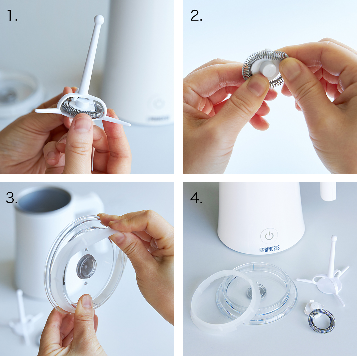 パドルパーツやフタは、分解して洗浄する方法。思わず唸るほど、キメ細やかでクリーミーなふわふわミルクが簡単に作れる「全自動ミルクフォーマー」|PRINCESS Milk Frother Pro