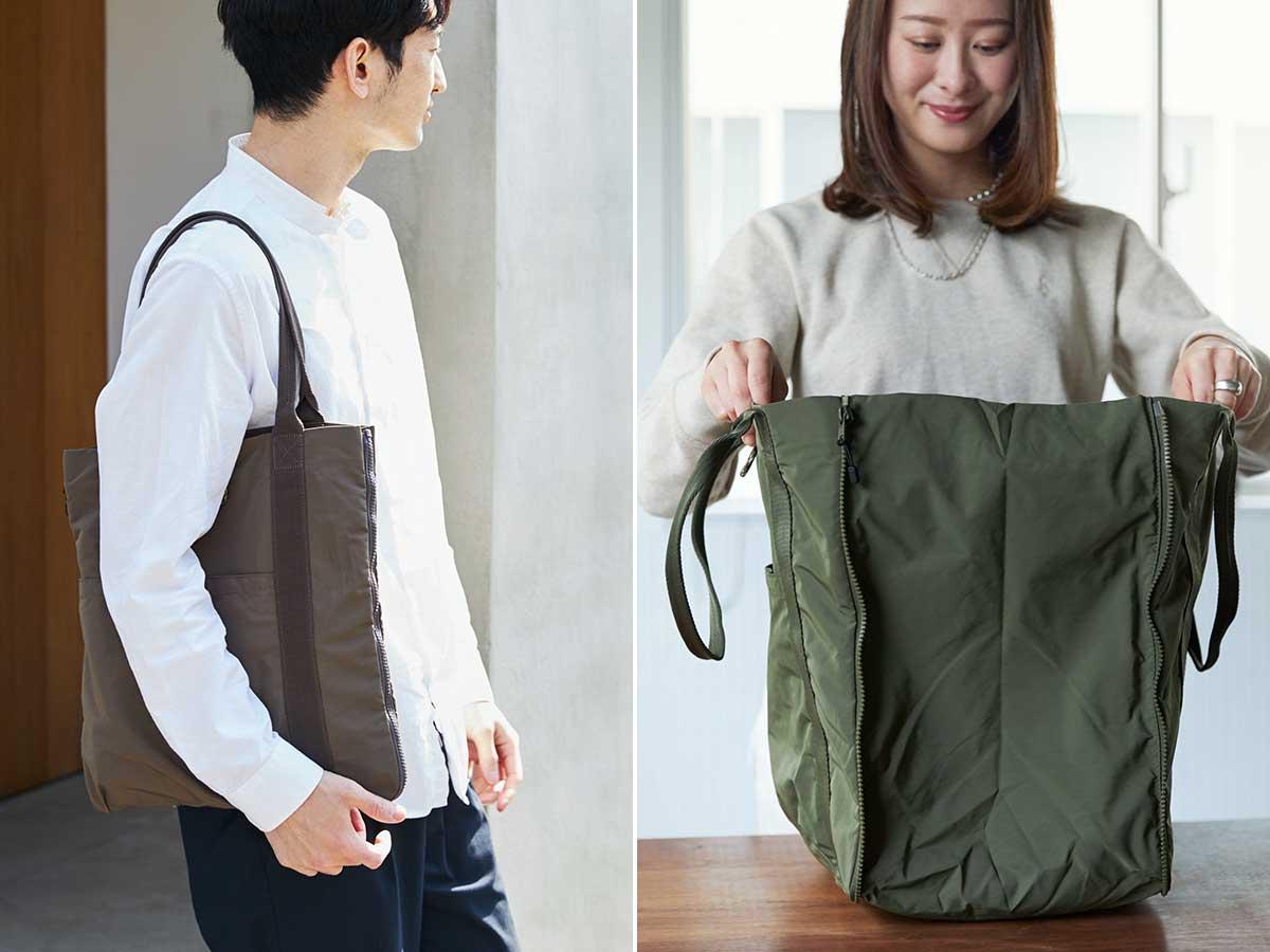 オフィスやカフェでの仕事も、スーパーでのまとめ買いもこれ一つで。薄型トートバッグが大容量バッグに変身するバッグ|WARPトランスフォームジッパーバッグ