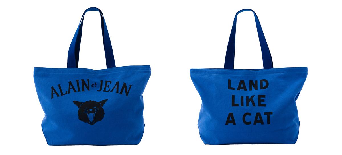 猫柄の青いキャンバストートバッグ