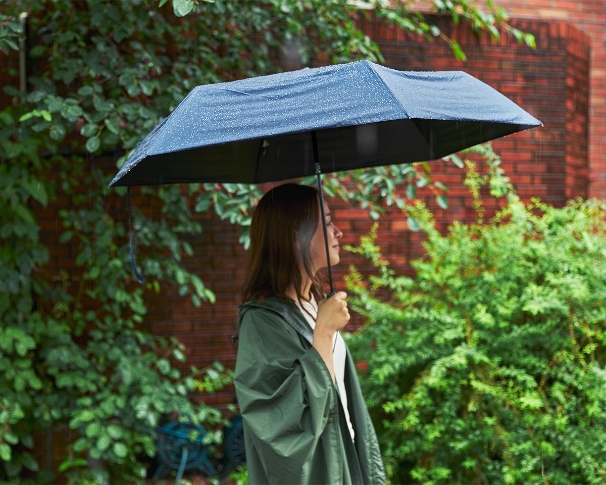 日差しが強い晴れの日も、雨の日も使える日傘・雨傘|《晴雨兼用》指1本でカンタン開閉!丈夫なコーデュラ生地で仕立てた「自動開閉式折りたたみ遮光傘」|HEAT BLOCK ×CORDURA Fabric|VERYKAL LARGE