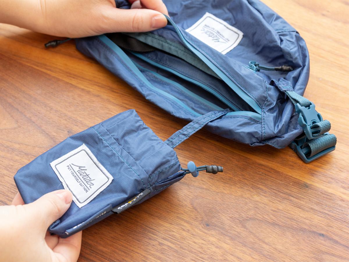 収納袋とバッグが一体型。旅先や日常生活でアクティブに動き回れる!手のひらサイズにたためる防水仕様のウエストバッグ/ヒップバッグ| Matador