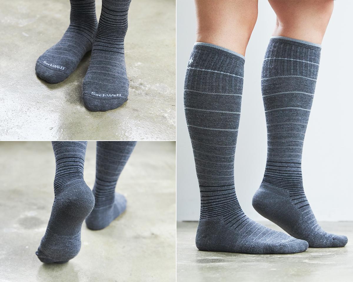 「アキュフィットテクノロジー」によって、立体的に編まれているので、足に馴染んで、ずっと快適です。夏は涼しく冬は暖かいメリノウールを使用した、血液やリンパの流れをサポートする着圧ソックス(健康ソックス・靴下)|Sockwell(ソックウェル)