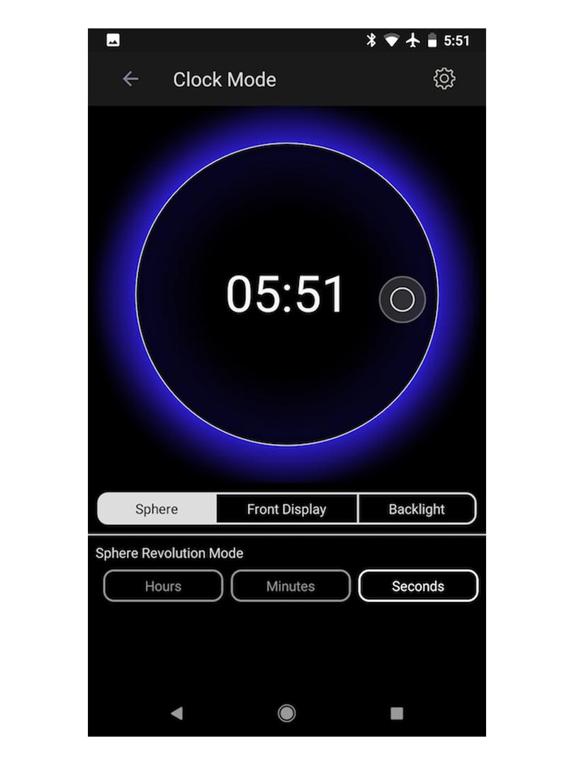 アプリ画面の「Clock Mode」を選択して、「Sphere/球体」の動きを設定。磁力で浮遊する「時の球体」。あなたの物語を軌道に旅をする時計|Flyte STORY