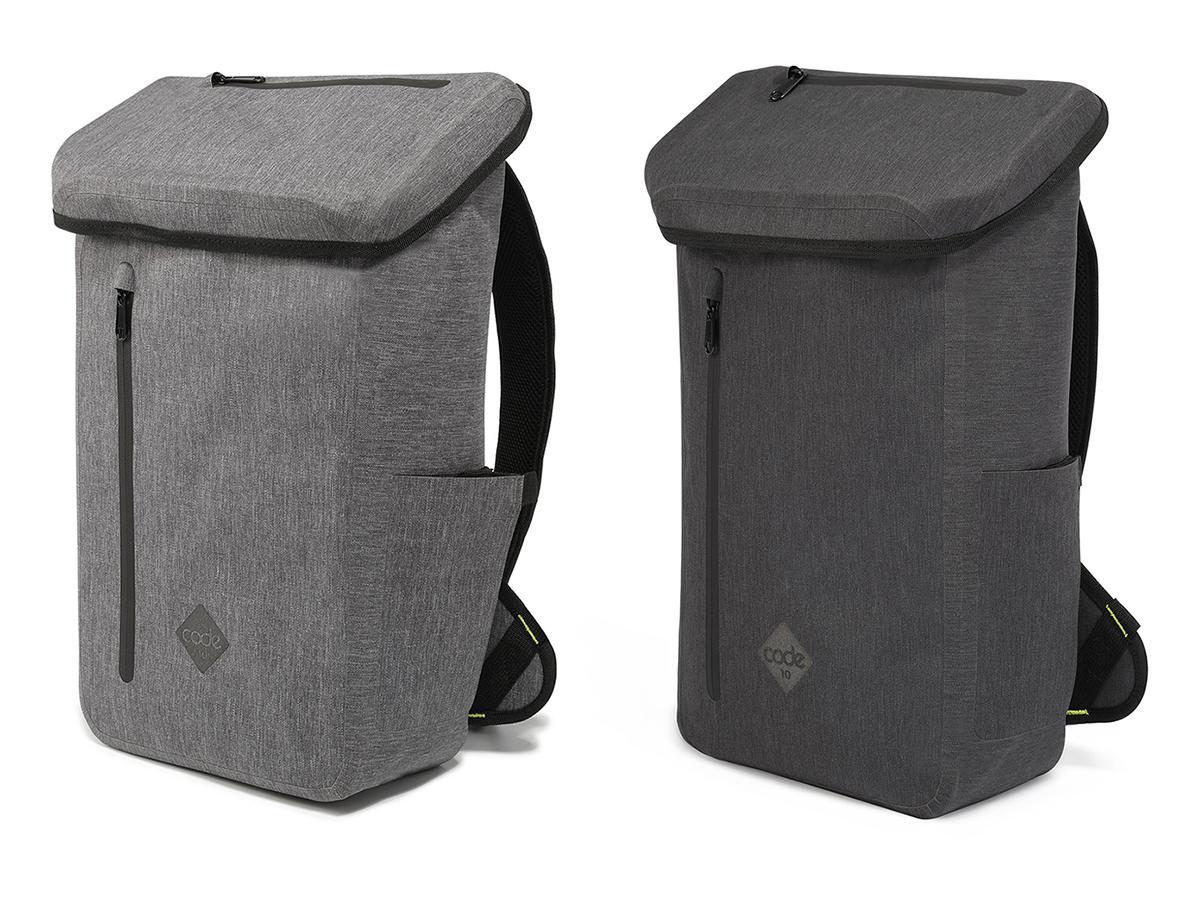 グレー・ブラック|全面に衝撃吸収パッドを内蔵、安心の完全防水構造、15インチのラップトップ収納可能、立体収納可能な内ポケット《DAYPACK》|Code 10(コードテン)