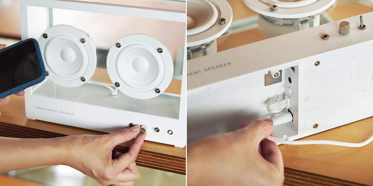 音楽をインテリアにするスピーカー。操作もシンプルで簡単。ガラスとスピーカーユニット2つだけ、美しい佇まいの「Bluetoothスピーカー」|TRANSPARENT SPEAKER(トランスペアレント スピーカー)
