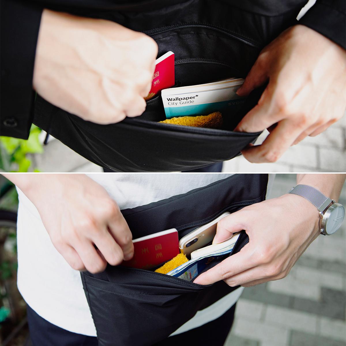 一番のこだわりの「そのままポケット」構造。荷物の入れ替え不要の収納構造の「バッグ一体型パーカー」| SANYO ENJIN
