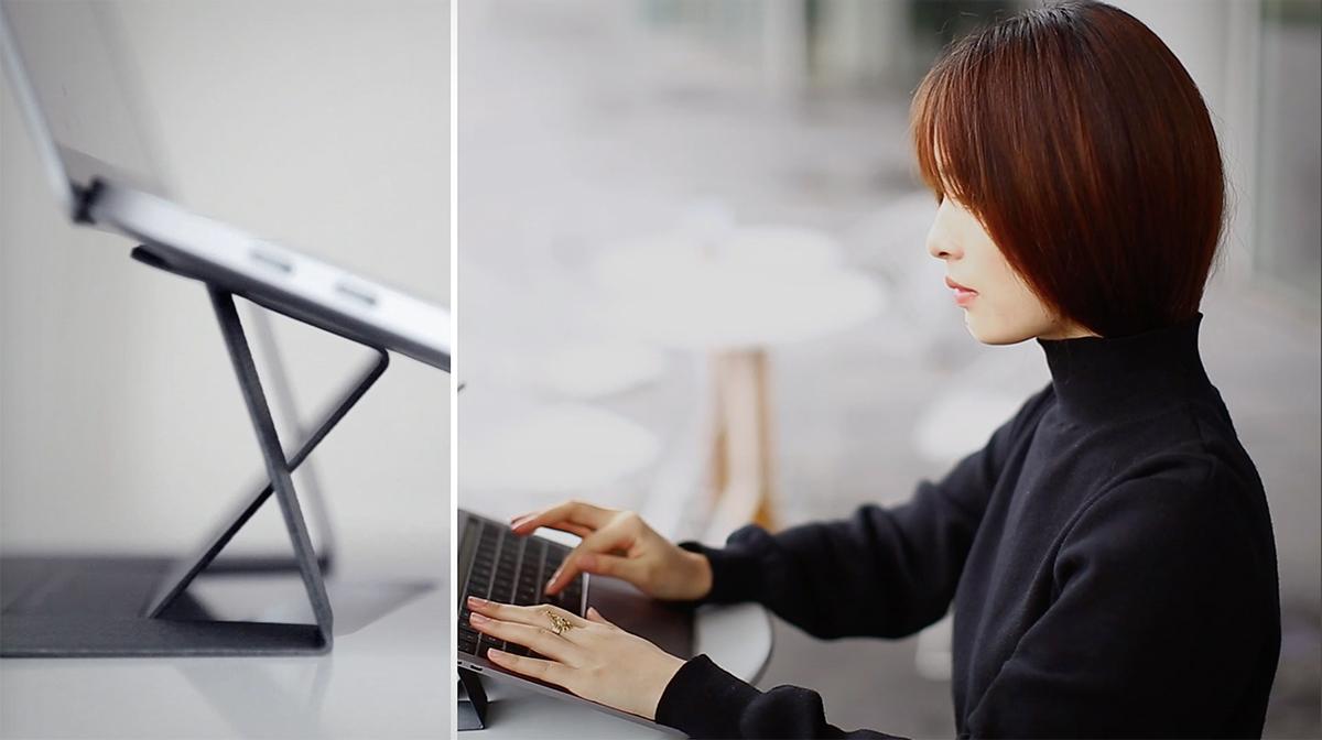 オフィスデスク、自宅のダイニングテーブルやカフェテーブルでのPC作業時に嬉しい25°の傾斜。目線が上がり姿勢が楽々、タイピングも快適になる薄さ3ミリの「ノートPCスタンド」|MOFT(モフト)
