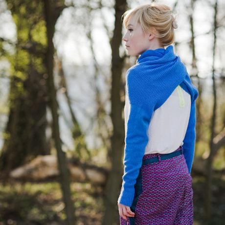 celapiu|Cornflower Neverending Sleeves | 矢車菊のブルー - 使い方いろいろな片袖ニット|XS/S