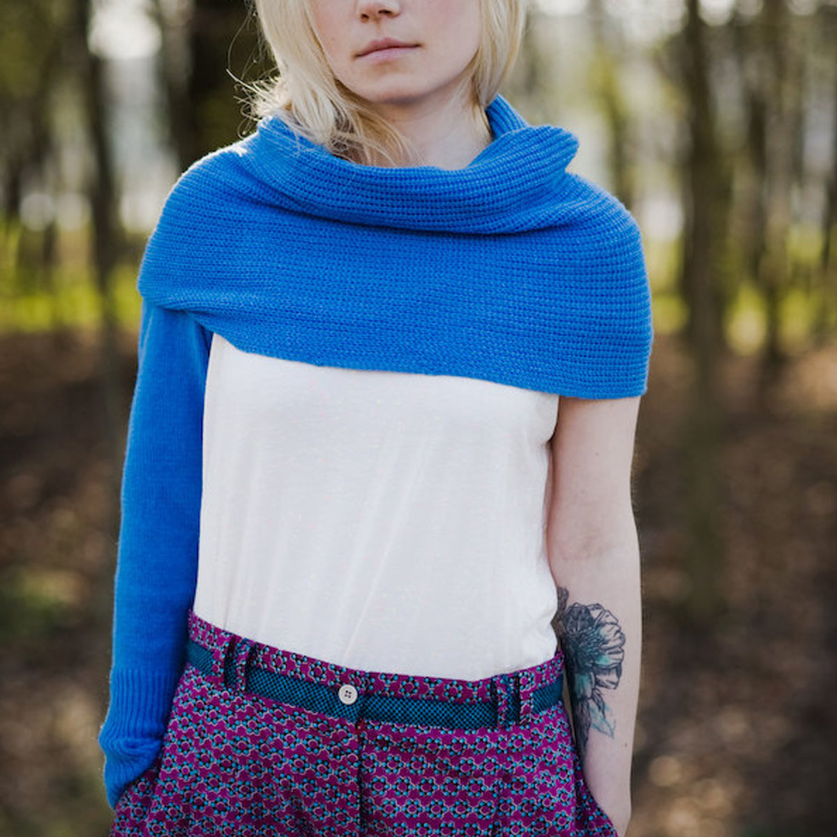 celapiu Cornflower Neverending Sleeves   矢車菊のブルー - 使い方いろいろな片袖ニット