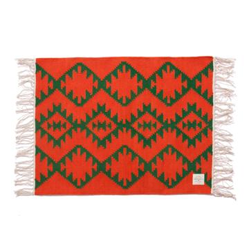 LIMONCHELLO|手織り生地で1枚1枚丁寧に作られたコットン100%のフロアマット|AZTEC ORANGE
