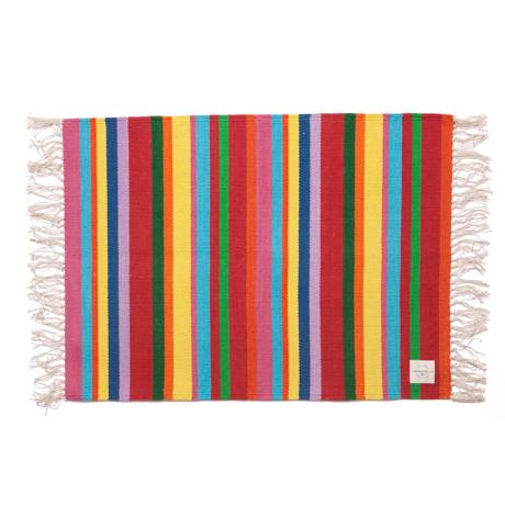 LIMONCHELLO|手織り生地で1枚1枚丁寧に作られたコットン100%のフロアマット|MULTI STRIPE