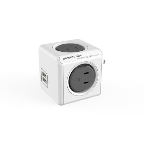 家庭内の電源を「設計」してみる|Original USB(USBポート付 / コードなし)- 必要なコンセント口数を決めることができ省スペース化可能なキューブ型電源タップ|GRAY(在庫限り)