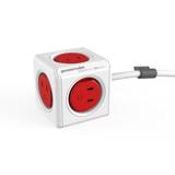 家庭内の電源を「設計」してみる Extended(コード1.5m / USBポートなし)- 必要なコンセント口数を決めることができ省スペース化可能なキューブ型電源タップ RED(在庫限り)