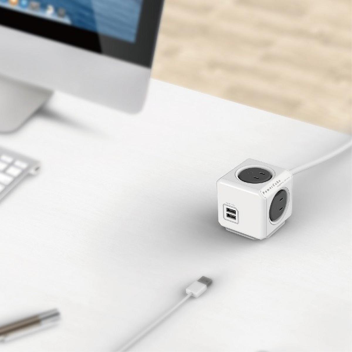 家庭内の電源を「設計」してみる|Extended USB(コード1.5m / USBポート付)- 必要なコンセント口数を決めることができ省スペース化可能なキューブ型電源タップ