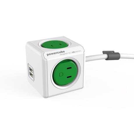 家庭内の電源を「設計」してみる Extended USB(コード1.5m / USBポート付)- 必要なコンセント口数を決めることができ省スペース化可能なキューブ型電源タップ GREEN(完売)