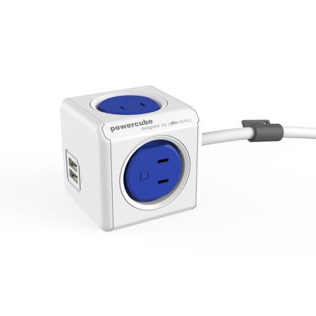 家庭内の電源を「設計」してみる Extended USB(コード1.5m / USBポート付)- 必要なコンセント口数を決めることができ省スペース化可能なキューブ型電源タップ BLUE(完売)