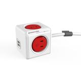 家庭内の電源を「設計」してみる|Extended USB(コード1.5m / USBポート付)- 必要なコンセント口数を決めることができ省スペース化可能なキューブ型電源タップ|RED(完売)