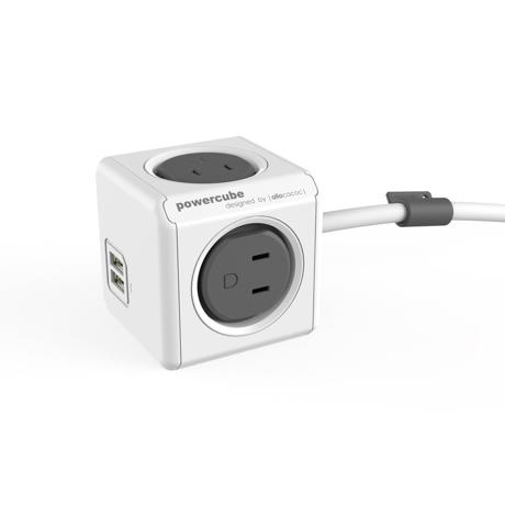 家庭内の電源を「設計」してみる|Extended USB(コード1.5m / USBポート付)- 必要なコンセント口数を決めることができ省スペース化可能なキューブ型電源タップ|GRAY(完売)