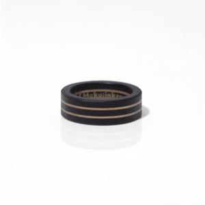 木の質感が上品なツーラインウッドリング / 黒(黒檀)