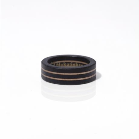 MOKUJINKEN|木の質感が上品なツーラインウッドリング / 黒(黒檀)|20号
