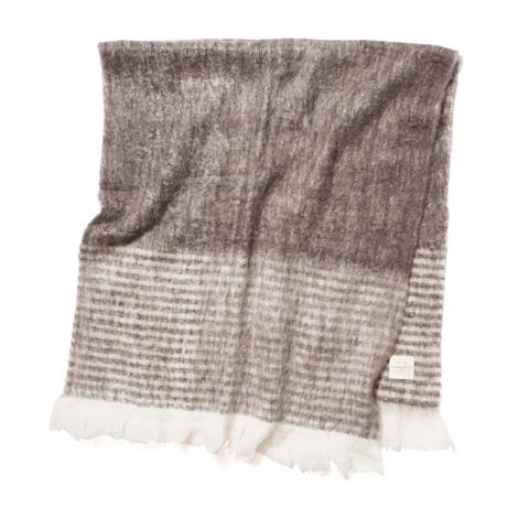 LIMONCHELLO|軽くて柔らかくモヘアのような肌触りが心地よいスローケット/ L(ブランケットサイズ)|BROWN BORDER