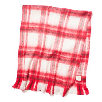 LIMONCHELLO|軽くて柔らかくモヘアのような肌触りが心地よいスローケット/ L(ブランケットサイズ)|RED CHECK