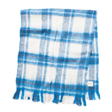 LIMONCHELLO|軽くて柔らかくモヘアのような肌触りが心地よいスローケット/ L(ブランケットサイズ)|BLUE CHECK
