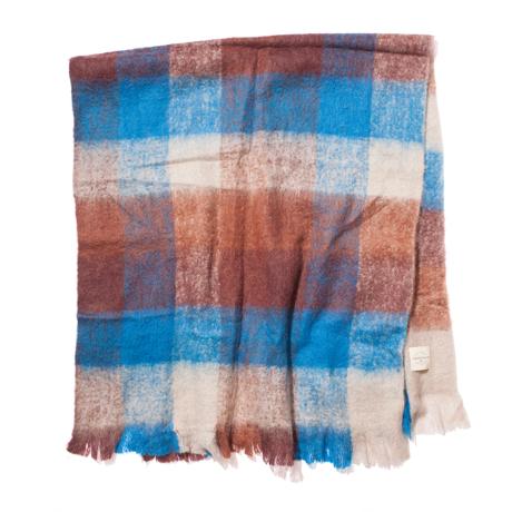 LIMONCHELLO|軽くて柔らかくモヘアのような肌触りが心地よいスローケット/ L(ブランケットサイズ)|BLUE/BROWN CHECK
