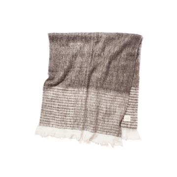 LIMONCHELLO|軽くて柔らかくモヘアのような肌触りが心地よいスローケット / M(ひざ掛けサイズ)|BROWN BORDER