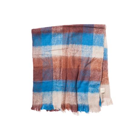 LIMONCHELLO|軽くて柔らかくモヘアのような肌触りが心地よいスローケット / M(ひざ掛けサイズ)|BLUE/BROWN CHECK