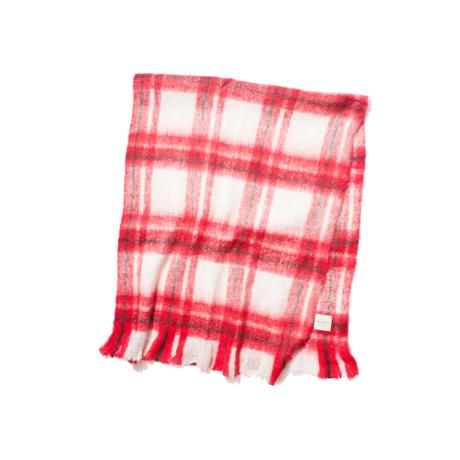 LIMONCHELLO|軽くて柔らかくモヘアのような肌触りが心地よいスローケット / M(ひざ掛けサイズ)|RED CHECK