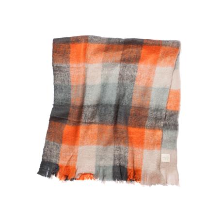 LIMONCHELLO|軽くて柔らかくモヘアのような肌触りが心地よいスローケット / M(ひざ掛けサイズ)|ORANGE CHECK