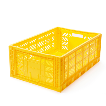 """必要な時だけ使える「折りたたみ式」収納ケース 収納上手は、""""クイック""""に整理整頓 - """"10秒""""で組み立てられる   MALTIWAY BOX / Lサイズ YELLOW(在庫限り)"""
