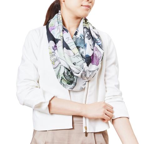 ファッションに興奮を与えるストール|宇野亜喜良・描き下ろし第一弾『書物の少女』ストール|