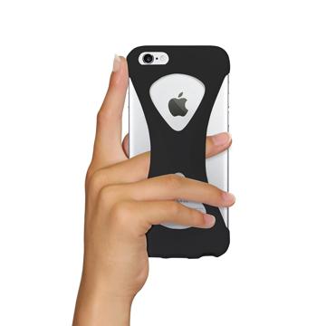 """iPhoneは、""""指1本""""で落とさない iPhone 6/6s 用   iPhone は""""指1本""""で持つ – 落とす不安から解放され、操作の""""自由度""""が広がる iPhone カバー   Palmo BLACK"""
