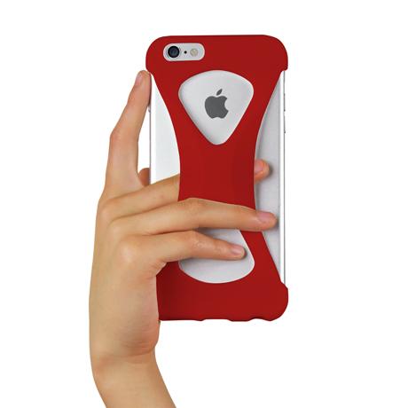 "iPhoneは、""指1本""で落とさない|iPhone 6 Plus /6s Plus 用 | iPhone は""指1本""で持つ – 落とす不安から解放され、操作の""自由度""が広がる iPhone カバー | Palmo for iPhone6 Plus / iPhone 6s Plus|RED"