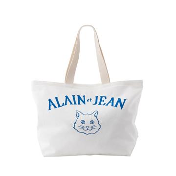 旅する猫「アランとジャン」|猫から教わった人生で大切なこと - 旅する猫「アランとジャン」の言葉と表情に毎日幸せを感じられる帆布トートバッグ(普段使い・小旅行兼用)|WHITE(在庫限り)
