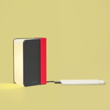 """開くと""""夢""""が広がる「ブック型LEDライト」 文庫本サイズ   本を開けば、やわらかな光。スマホも充電できるブック型LEDライト RED/GREY"""