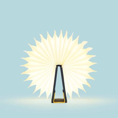 """開くと""""夢""""が広がる「ブック型LEDライト」 文庫本サイズ   本を開けば、やわらかな光。スマホも充電できるブック型LEDライト YELLOE/NAVY"""