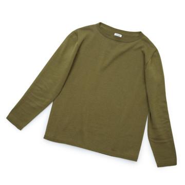 """縫い目がない「カシミア混ニット」 Mサイズ   ジャケットに合わせるだけで""""着こなし""""に磨きがかかる。縫い目がなく、着心地抜群。自宅で洗濯しても伸びにくいホールガーメント・ロングスリーブニット(MONOCO 限定) オリーブ(在庫限り)"""