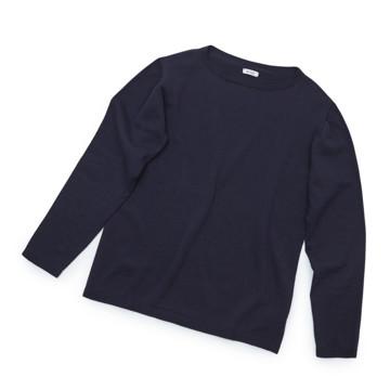 """縫い目がない「カシミア混ニット」 Mサイズ   ジャケットに合わせるだけで""""着こなし""""に磨きがかかる。縫い目がなく、着心地抜群。自宅で洗濯しても伸びにくいホールガーメント・ロングスリーブニット(MONOCO 限定) ネイビー(完売)"""