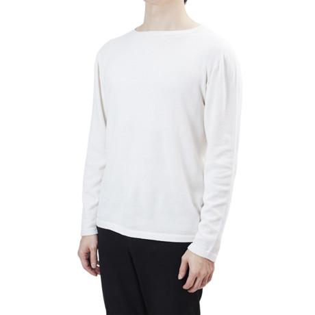 """縫い目がない「カシミア混ニット」 Lサイズ   ジャケットに合わせるだけで""""着こなし""""に磨きがかかる。縫い目がなく、着心地抜群。自宅で洗濯しても伸びにくいホールガーメント・ロングスリーブニット(MONOCO 限定) ホワイト(在庫限り)"""