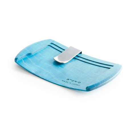 手ぶら外出ができる「木の財布」|《カエデ》カード3枚だけ持って、手ぶら外出できる「木の財布」|Smart Card Clip|ブルー