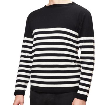 縫い目がない「カシミア混ニット」|Sサイズ(ボーダー)縫い目がない理想的な着心地、ホールガーメント・カシミア混長袖ニット|BLACK(在庫限り)