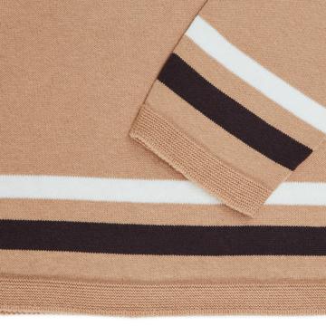 縫い目がない「カシミア混ニット」|Mサイズ(ボーダー)縫い目がない理想的な着心地、ホールガーメント・カシミア混長袖ニット