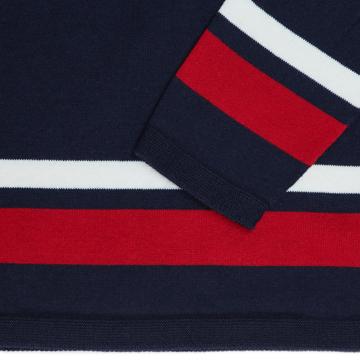 縫い目がない「カシミア混ニット」|Mサイズ(ボーダー)縫い目がない理想的な着心地、ホールガーメント・カシミア混長袖ニット|NAVY(在庫限り)