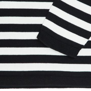 縫い目がない「カシミア混ニット」|Mサイズ(ボーダー)縫い目がない理想的な着心地、ホールガーメント・カシミア混長袖ニット|BLACK(在庫限り)