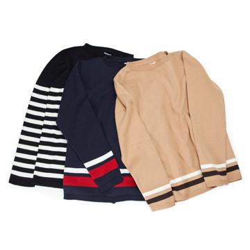 Lサイズ(ボーダー)縫い目がない理想的な着心地、ホールガーメント・カシミア混長袖ニット