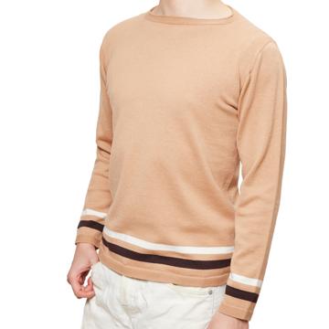 縫い目がない「カシミア混ニット」|Lサイズ(ボーダー)縫い目がない理想的な着心地、ホールガーメント・カシミア混長袖ニット|BEIGE(完売)